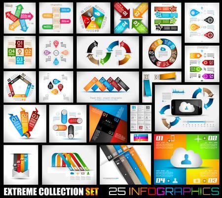 25 品質インフォ グラフィック背景の極端なコレクションです。多くの異なるテンプレート データを表示する準備ができています。  イラスト・ベクター素材