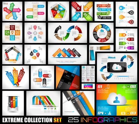 Extreme Collection of 25 quality Infographics background. A lot of different templates ready to display your data. Vettoriali