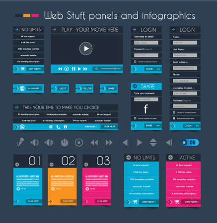 Web Design Stuff: price panels, Login forms, headers, footers, icons, infographic panels and a multimedia movie player. Stock Vector - 22785959