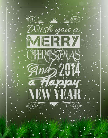 typo: Merry Christmas Vintage retro typo background for your greetings or invitation covers. Illustration