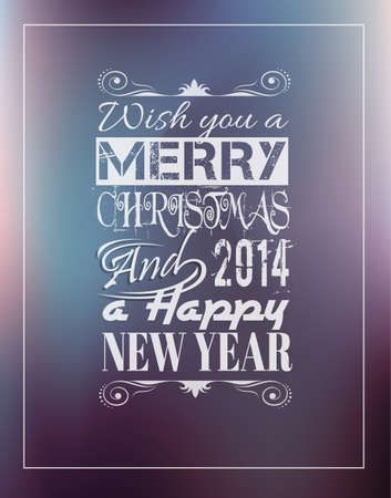 Merry Christmas Vintage retro typo background for your greetings or invitation covers. Vector