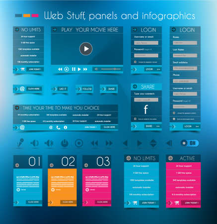 Web Design Stuff: price panels, Login forms, headers, footers, icons, infographic panels and a multimedia movie player. Stock Vector - 22785992