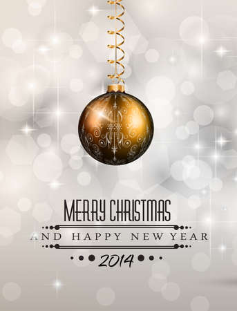 2014 Christmas Colorful Background with a waterfall of ray lights and a lot of baubles and stars. Stock Vector - 23391993