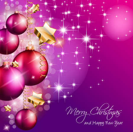 2014 Christmas Colorful Background with a waterfall of ray lights and a lot of baubles and stars. Stock Vector - 23391991