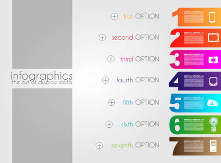Infographic templated with paper number shapes for classifications and product rankings. Vector
