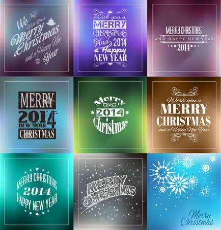 Merry Christmas Vintage retro typo background set  for your greetings or invitation covers. Vector