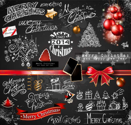 2014 Christmas Vintage typograph design elements: vintage labels. ribbons, stickers, baubles and gift boxes, birds, liquid drops, swirls and so on. Vector
