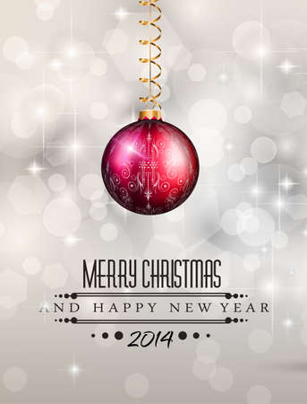2014 Christmas Colorful Background with a waterfall of ray lights and a lot of baubles and stars. Stock Vector - 23393499