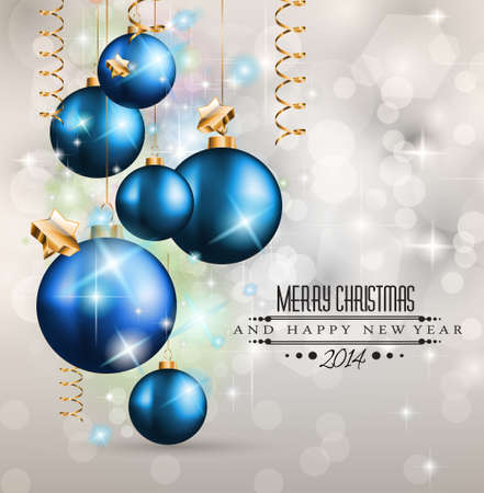 2014 Christmas Colorful Background with a waterfall of ray lights and a lot of baubles and stars. Stock Vector - 23393501