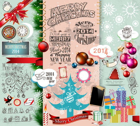 so: 2014 Christmas Vintage typograph design elements: vintage labels. ribbons, stickers, baubles and gift boxes, birds, liquid drops, swirls and so on. Illustration