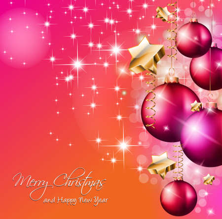 2014 Christmas Colorful Background with a waterfall of ray lights and a lot of baubles and stars. Stock Vector - 23393563