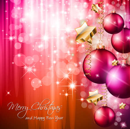 2014 Christmas Colorful Background with a waterfall of ray lights and a lot of baubles and stars. Stock Vector - 23393576