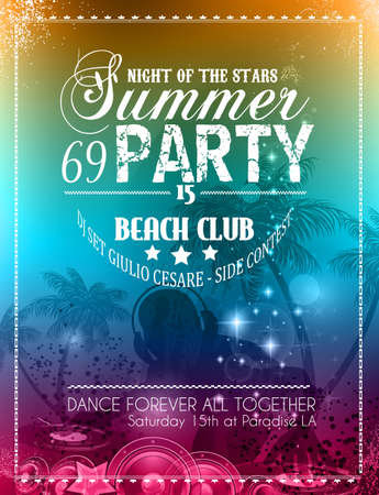 event party: Beach Party Flyer for your latin music event or poster