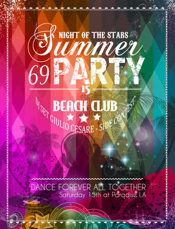 promotion girl: Beach Party Flyer for your latin music event or poster