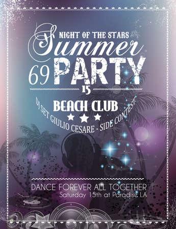 музыка: Beach Party Flyer для Вашего мероприятия Латинская музыка или плакат Иллюстрация