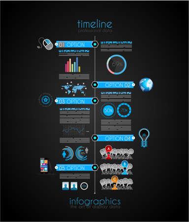 elementi: Timeline per visualizzare i dati in ordine con elementi Infografica tecnologia icone, grafici, mappa del mondo e cos� via. Ideale per la visualizzazione di dati statistica.