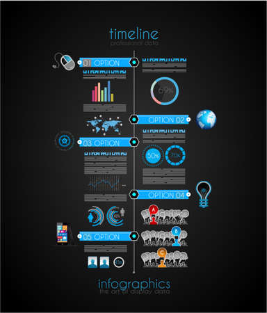 Timeline to display your data in order with Infographic elements technology icons,  graphs,world map and so on. Ideal for statistic data display. Vector