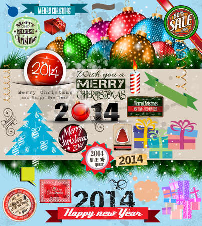 2014 Christmas Vintage typograph design elements: vintage labels. ribbons, stickers, baubles and gift boxes, birds, liquid drops, swirls and so on. Stock Vector - 23475867