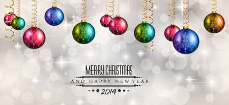2014 Christmas Colorful Background with a waterfall of ray lights and a lot of baubles and stars. Vector