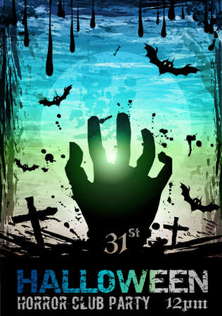 Halloween Fear Horror Party Background for flyers or posters Illustration