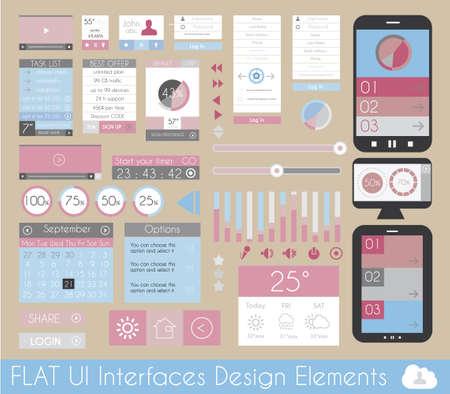 UI Flat Design Elements for Web, Infographics, Data display, Blogs and   Business presentations. Vector