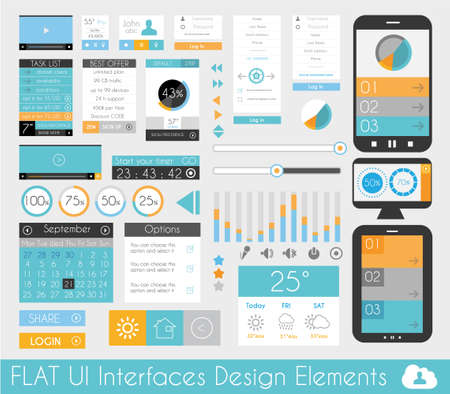 ui design: UI Flat Design Elements for Web, Infographics, Data display, Blogs and   Business presentations.