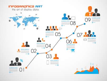 Línea de tiempo para mostrar los datos en orden con elementos de Infografía iconos de la tecnología, gráficos, mapa del mundo, etc. Ideal para la visualización de datos estadística.