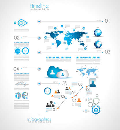 Timeline to display your data in order with Infographic elements technology icons,  graphs,world map and so on. Ideal for statistic data display. Stock Vector - 23648491