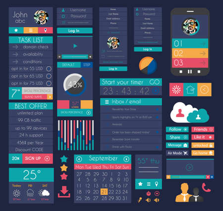 interface design: UI Flat Design Elements for Web, Infographics, Data display, Blogs and   Business presentations.
