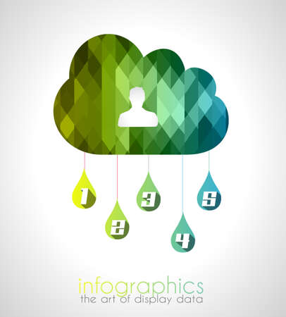 rankings: Cloud computing infographic with 5 numbers for your business presentations. Ideal for data display or item classification and rankings.