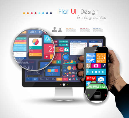 interface design: UI Flat Design Elements in a modern HD screen computer: Web and Infographics theme. Illustration