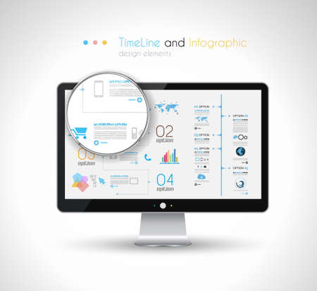 visualization: Timeline design in a modern HD screen computer: Web and Infographics theme.