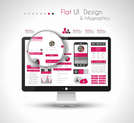 data collection: UI Flat Design Elements in a modern HD screen computer: Web and Infographics theme. Illustration