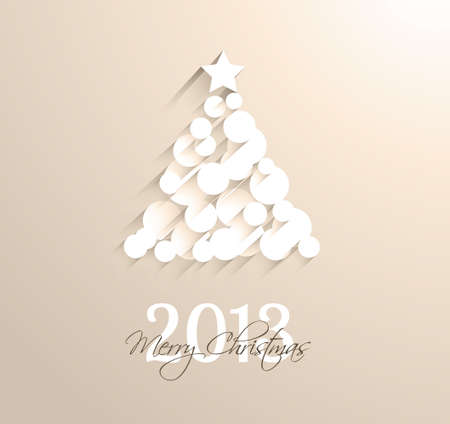 Delicate 2013 Christmas background made with circular white shapes with shadows. Vector