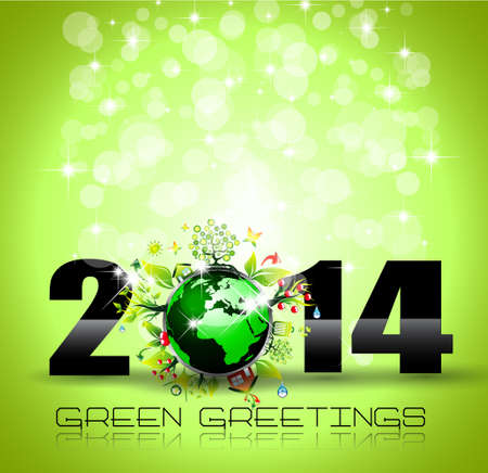 2014 New Year Colorful Background for Green invitations Stock Vector - 24345104