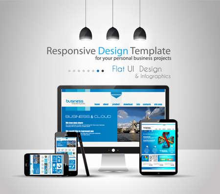 現代装置のモックアップ fpr あなたビジネス プロジェクト webtemplates 含まれています