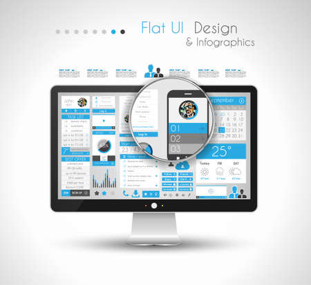 Infographic Design Template with modern flat style  Ideal to display data and for product ranking or generic classification of items  Vector
