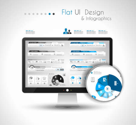 UI Flat Design Elements in a modern HD screen computer Vector