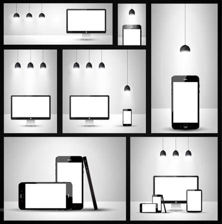 Modern devices mockups fpr your business projects Stock Vector - 24345044
