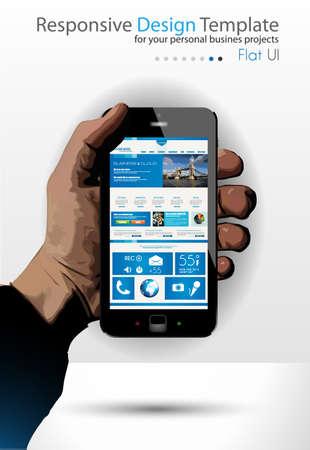 UI Flat Design Elements in a modern Smartphone ina hand  Original web template Stock Vector - 24265714
