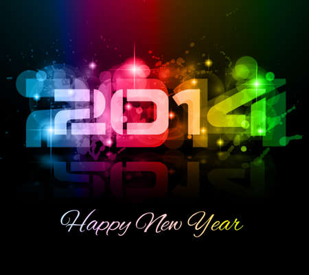2014 New Year Colorful Background for your  Party invitations. Stock Vector - 24418943