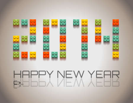 2014 Happy New Year background with  coloful plastic blocks with shadows! Vector