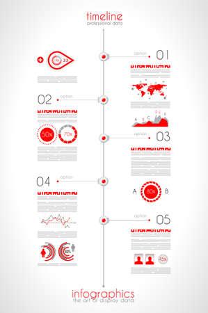 elementi: Timeline per visualizzare i dati in ordine con le icone Infografica tecnologia elementi, grafici, mappa del mondo e cos� via. Ideale per la visualizzazione di dati statistici.