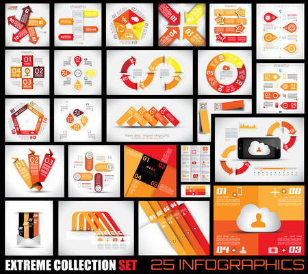 with sets of elements: Extreme Collection of 25 quality Infographics background. A lot of different templates ready to display your data. Illustration