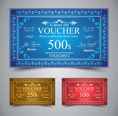 Elegant Voucher Design for 500, 250 or 100 dollars payment. Vector