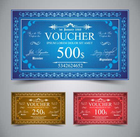 certificate frame: Elegant Voucher Design for 500, 250 or 100 dollars payment.