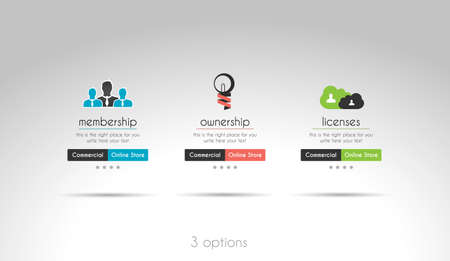 webtemplate: Quality clean web elements for blog and sites. 3 choice menu Illustration