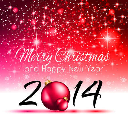 2014 Christmas Colorful Background with a waterfall of ray lights and a lot of baubles and stars. Stock Vector - 24570162