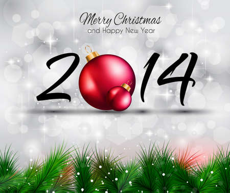 yaer: 2014 Christmas and New Yaer Colorful Background with a waterfall of ray lights and a lot of baubles and stars.