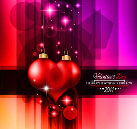 Valentine's Day template with stunning hearts and colors for your flyer backgrounds. Stock Vector - 25068631